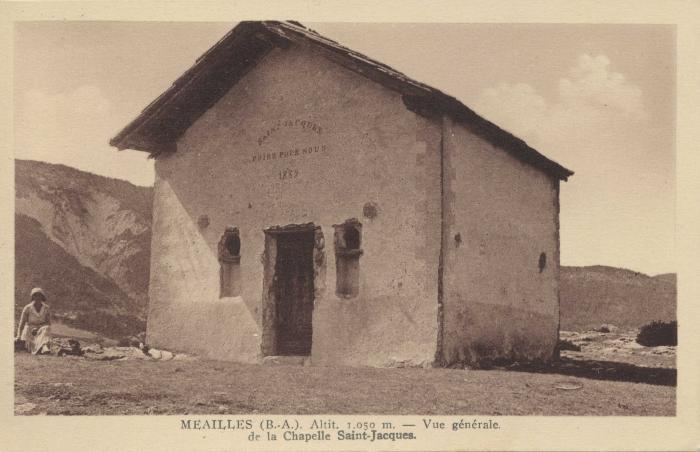 Méailles (B.-A.) altit 1050m - vue générale de la chapelle St Jacques.