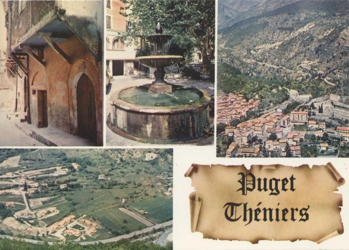 (06.099)Puget-Théniers (Alpes-Mar.) Vieille rue - la fontaine - la Blanquerie - vue générale aérienne