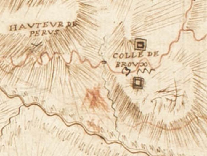 Redoutes du col de Brouis. Détail de la Carte de Maréchal de Belle-Isle, 1747. Fonds AD06 01FI0177.